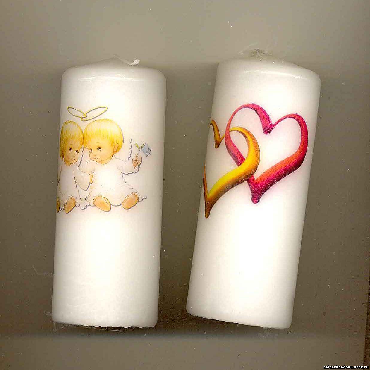 Романтические свечи с нанесённым рисунком