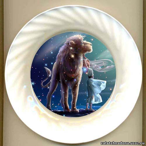 Декоративная тарелка с красивой картинкой знака Зодиака