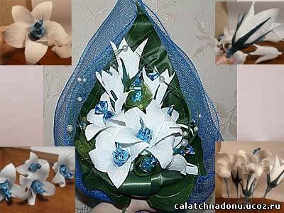 Лилии из гофрированной бумаги
